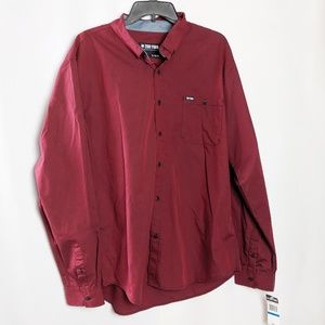 Zoo York Unbreakable Burgundy Button  Shirt NEW